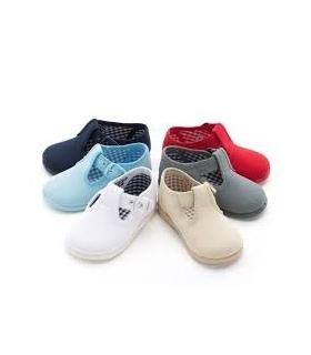 Lona sandalia azul blanca