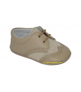 Zapato blucher camel piel-lino Sin suela