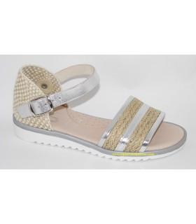Sandalia combinada lino-plata