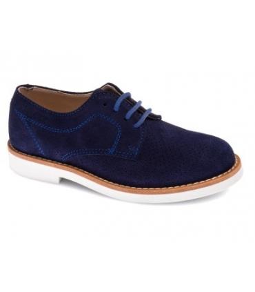 Zapato con cordones serraje azul marino