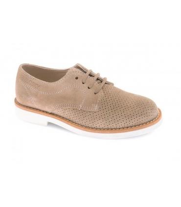 Zapato con cordones serraje arena