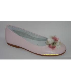 Manoletina piel rosa con flores