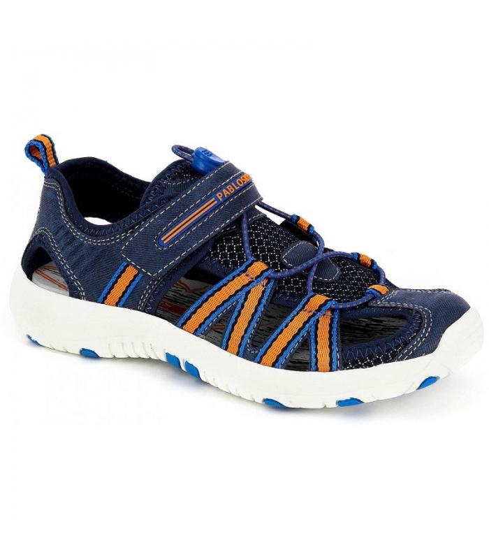 Sandalia sport azul marino-naranja