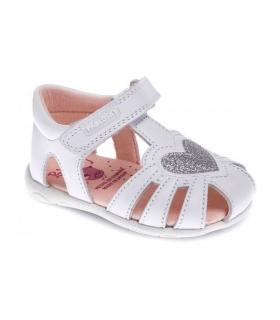 Sandalia piel blanco corazón brillo plata