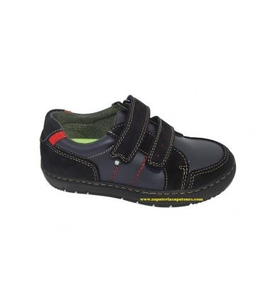 Zapato deportivo piel-serraje azul marino