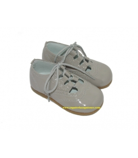 Zapato inglés charol gris