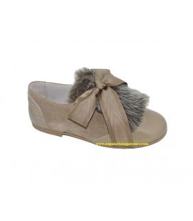 Zapato blucher charol-serraje camel