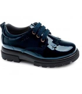 Zapato blucher charol azul marino con flecos