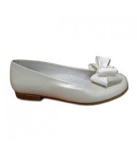 Zapato Comunión niña nacarado blanco